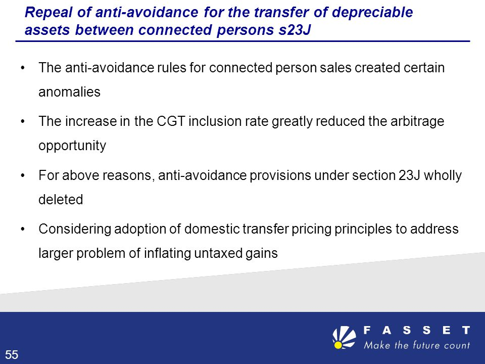 Repeal of anti-avoidance for the transfer of depreciable assets between connected persons s23J