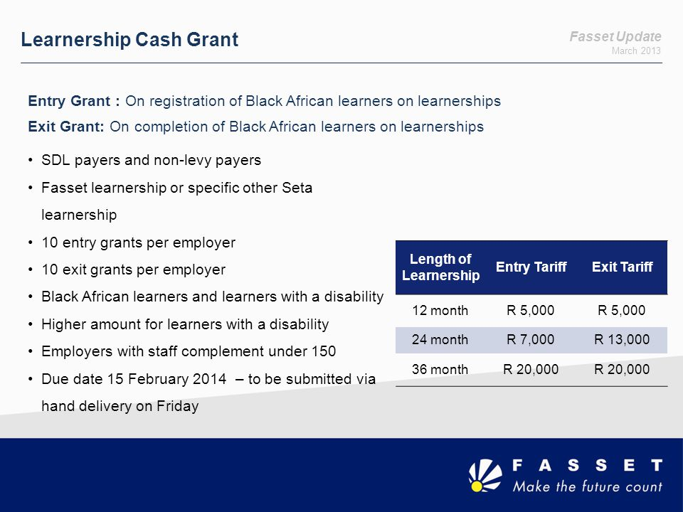 Learnership Cash Grant