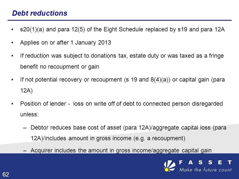 Debt reductions s20(1)(a) and para 12(5) of the Eight Schedule replaced by s19 and para 12A. Applies on or after 1 January 2013.