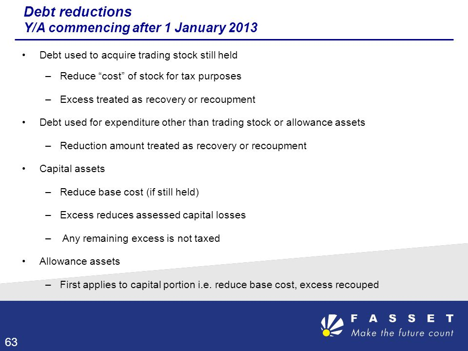 Debt reductions Y/A commencing after 1 January 2013