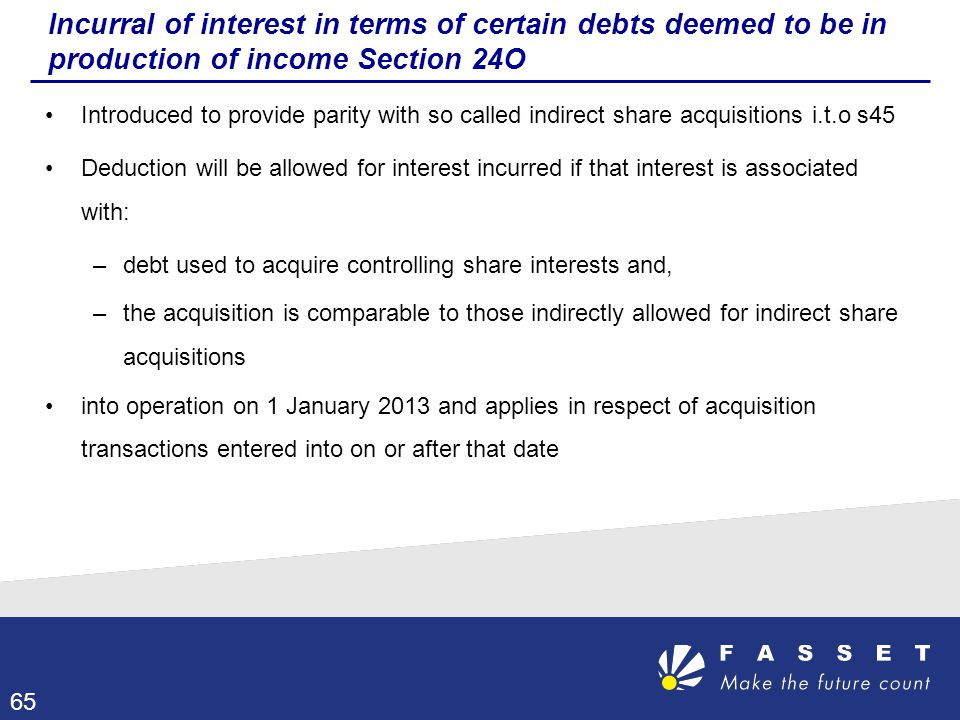 Incurral of interest in terms of certain debts deemed to be in production of income Section 24O