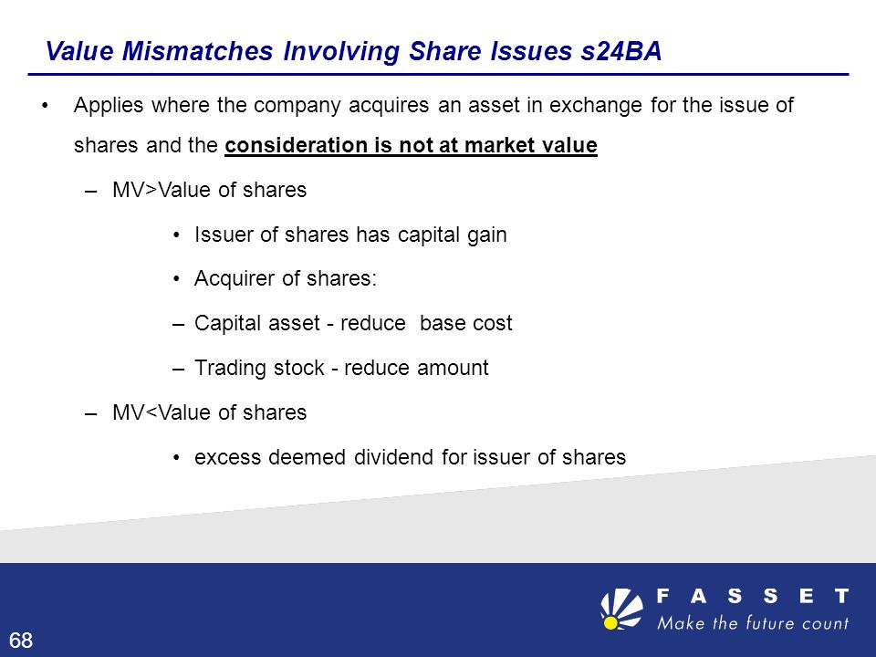 Value Mismatches Involving Share Issues s24BA