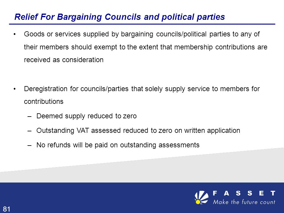 Relief For Bargaining Councils and political parties