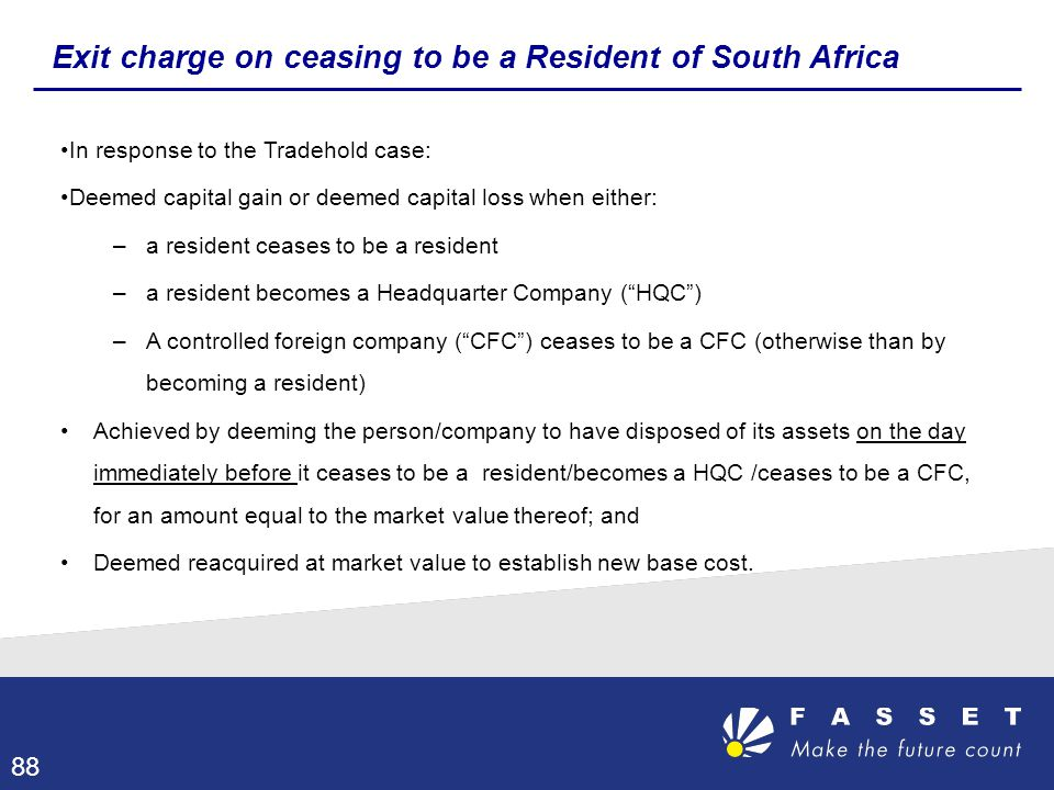 Exit charge on ceasing to be a Resident of South Africa