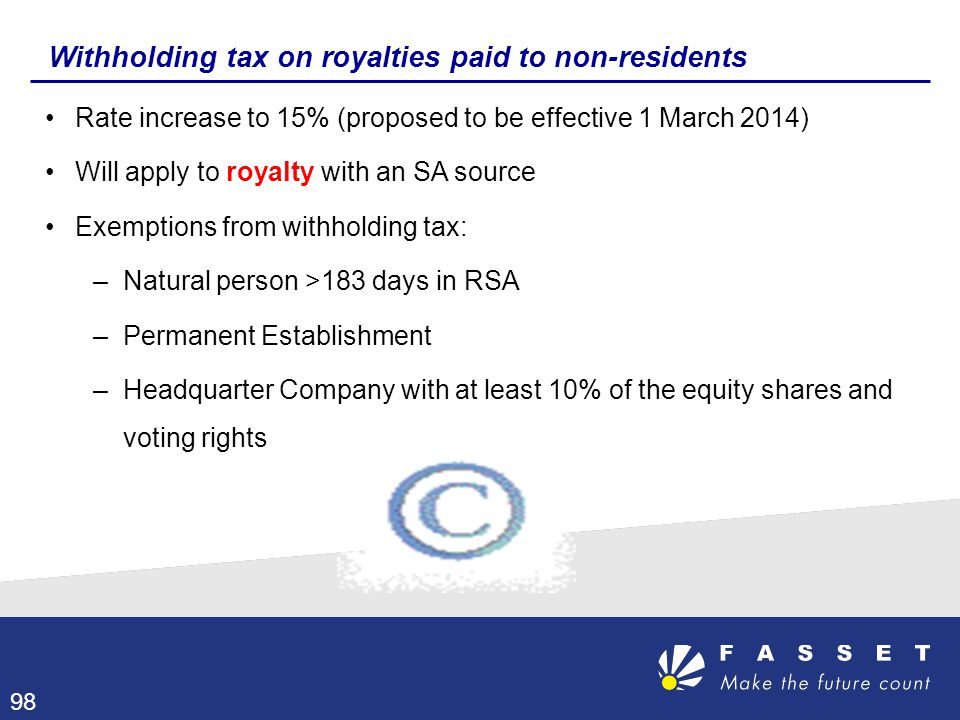 Withholding tax on royalties paid to non-residents