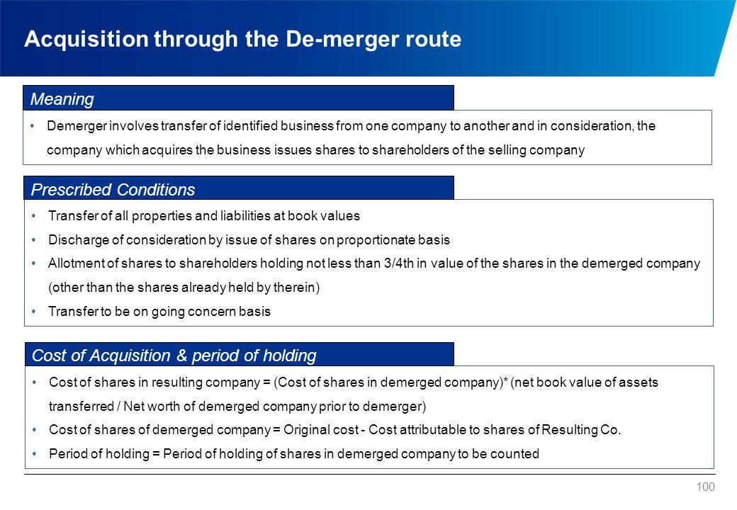 Acquisition through the De-merger route
