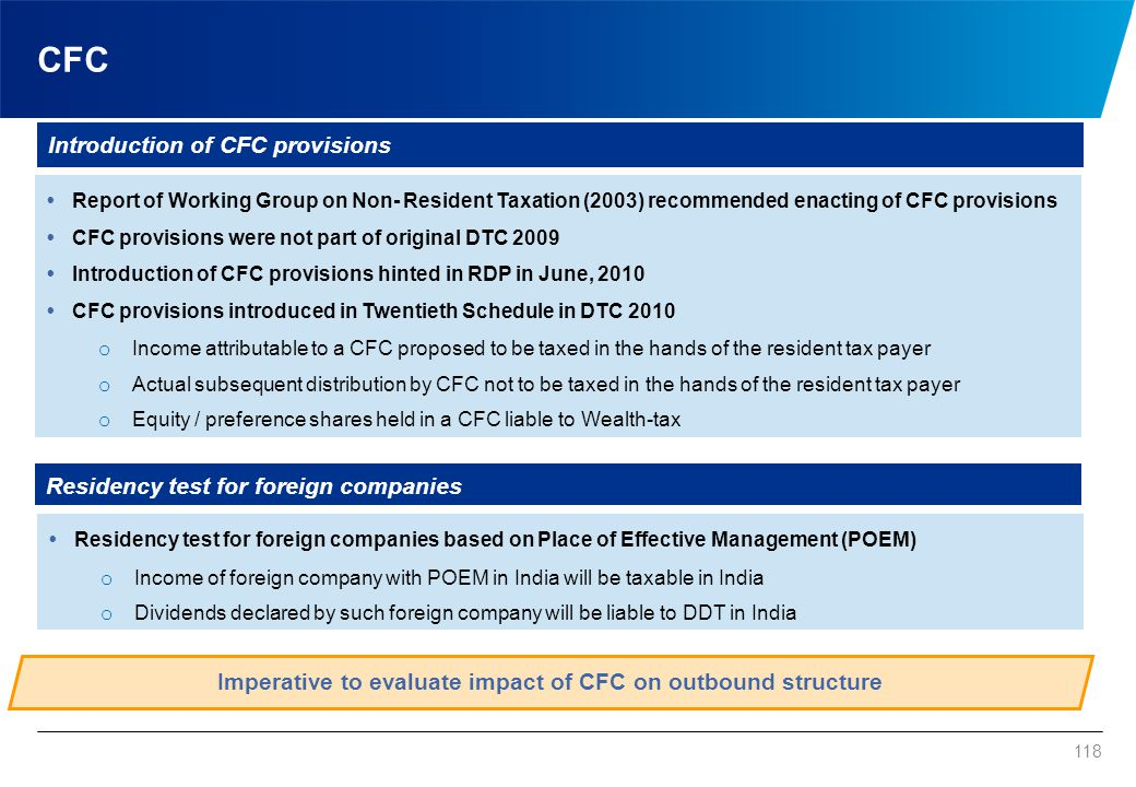 CFC tests Indian Company. Conditions for qualifying as CFC. Control.