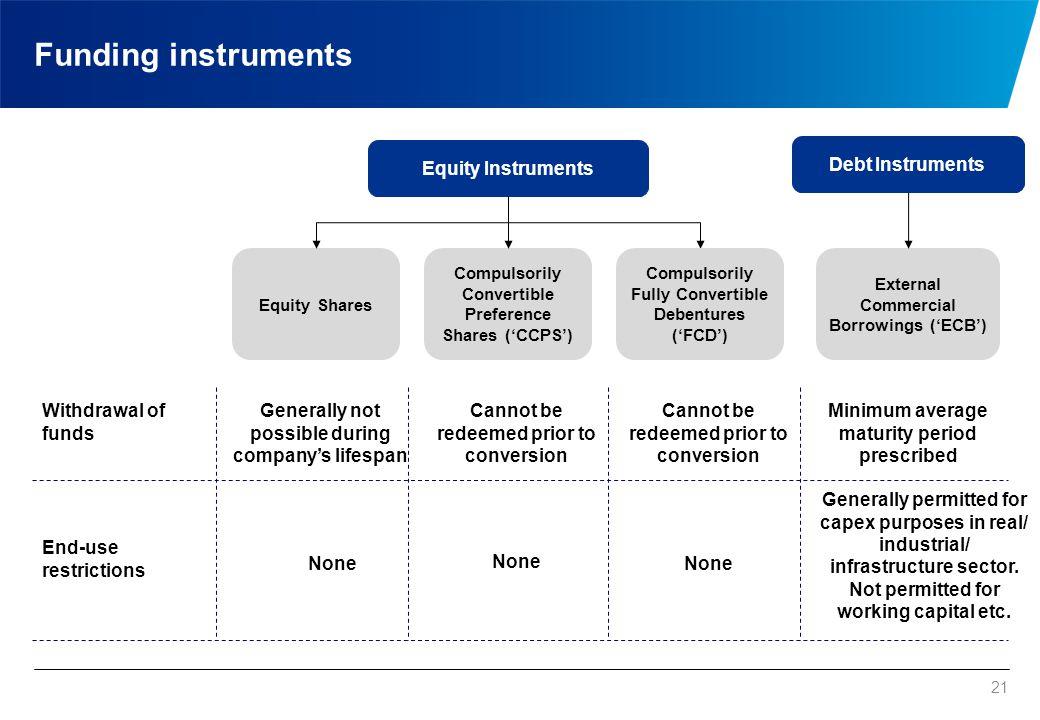 Funding instruments - Comparison