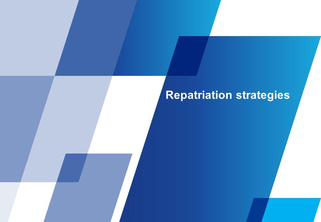 Repatriation strategies