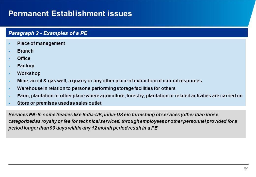 Permanent Establishment issues
