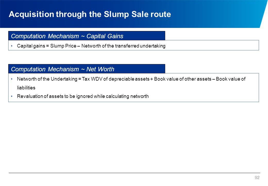 Acquisition through the Slump Sale route