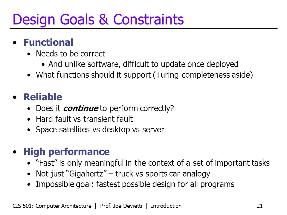 Design Goals & Constraints