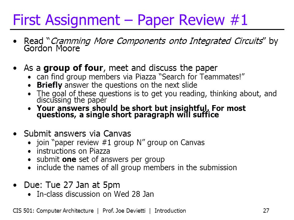 First Assignment – Paper Review #1
