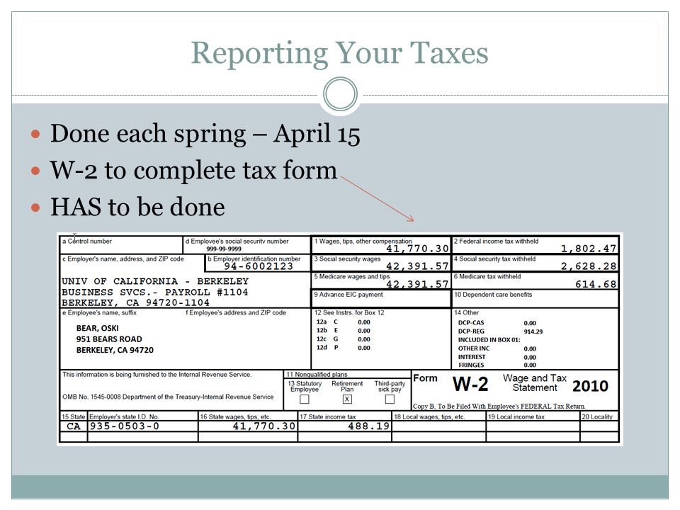 Reporting Your Taxes Done each spring – April 15