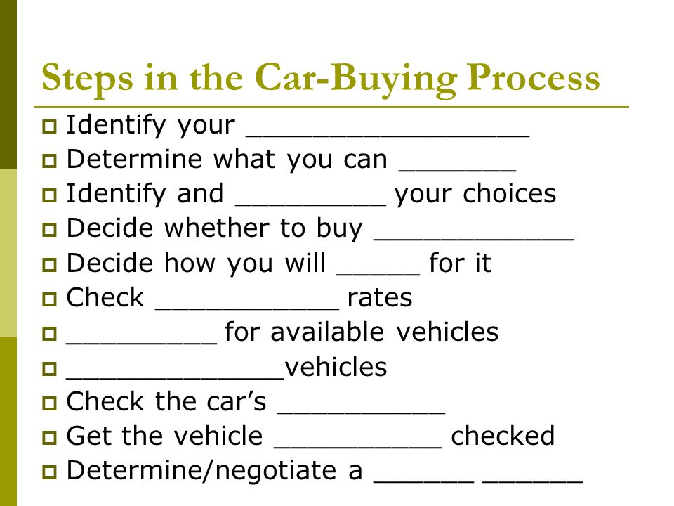 Steps in the Car-Buying Process