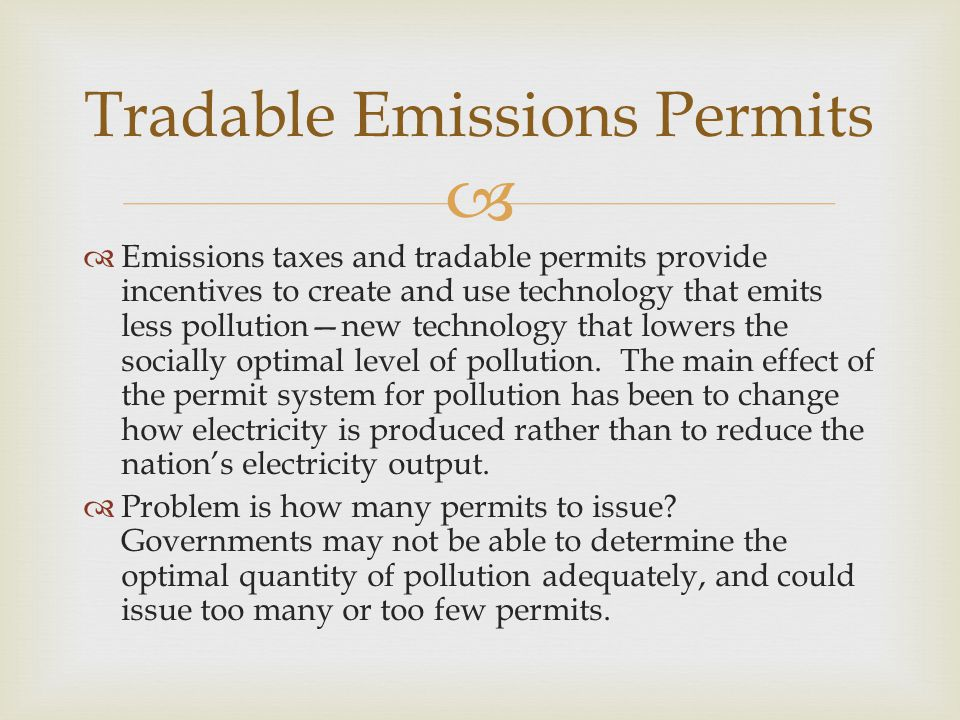 Tradable Emissions Permits