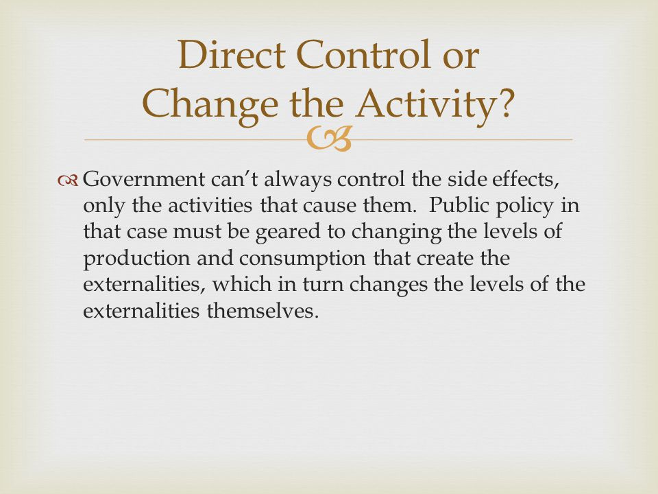 Direct Control or Change the Activity