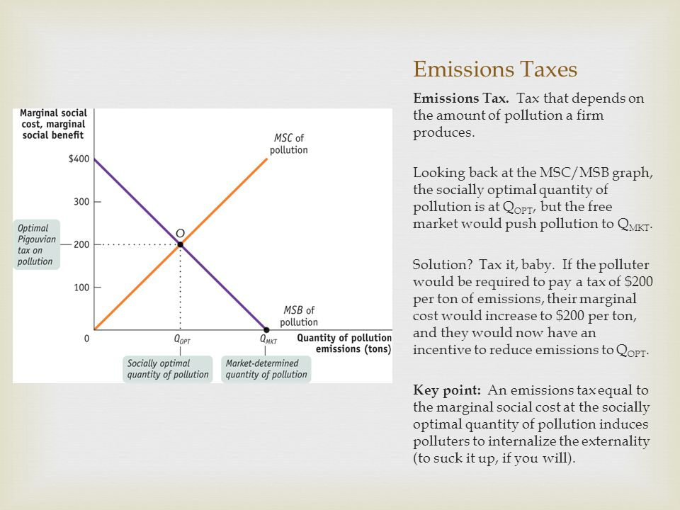 Emissions Taxes Emissions Tax. Tax that depends on the amount of pollution a firm produces.