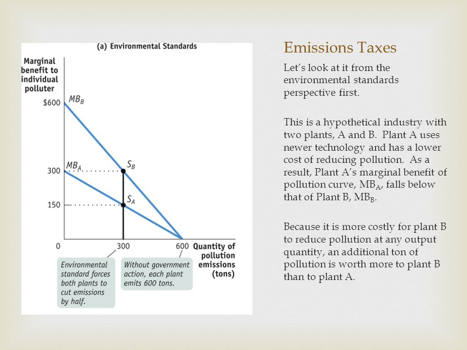 Emissions Taxes Let's look at it from the environmental standards perspective first.