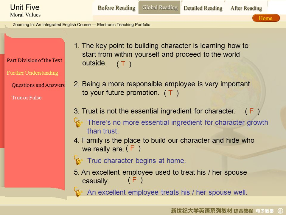 Global Reading_ True or False