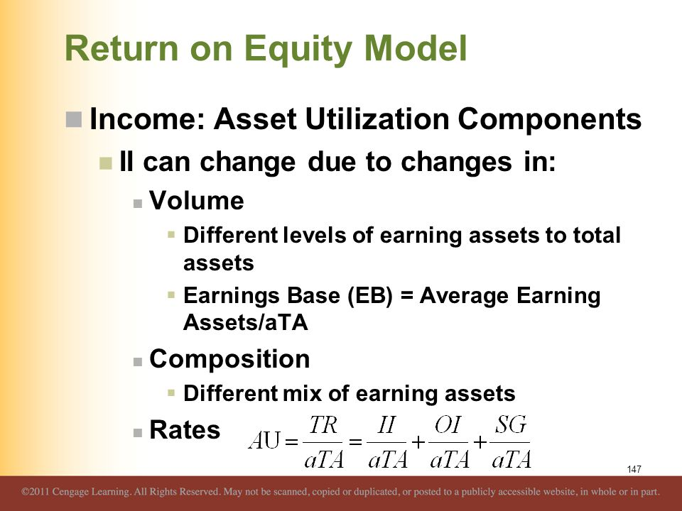 Return on Equity Model Income: Asset Utilization Components