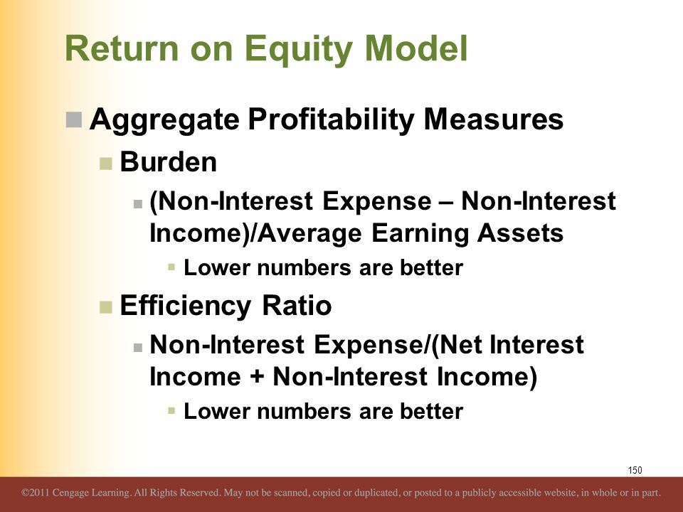 Return on Equity Model Aggregate Profitability Measures Burden