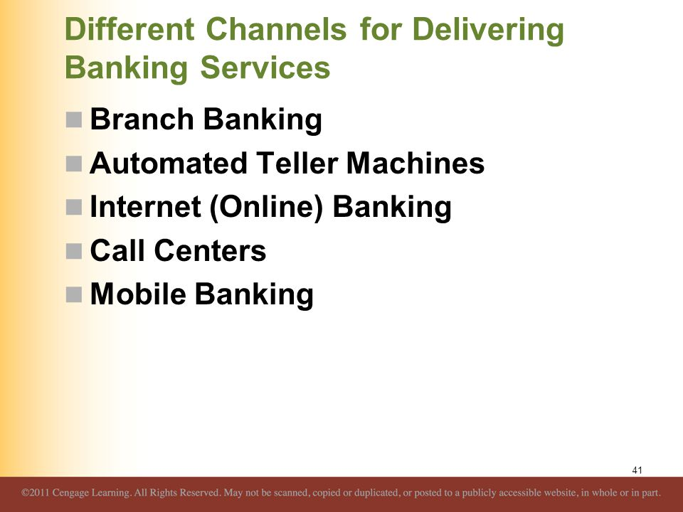 Different Channels for Delivering Banking Services