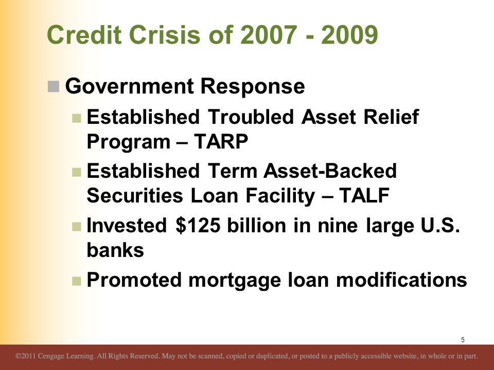 Credit Crisis of 2007 - 2009 Government Response