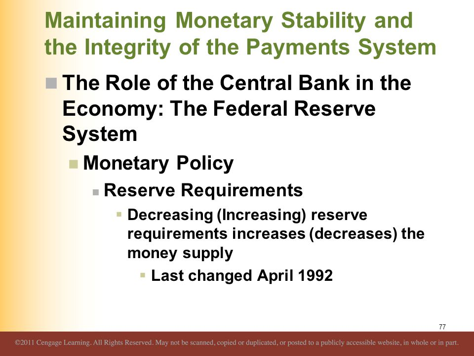 Maintaining Monetary Stability and the Integrity of the Payments System