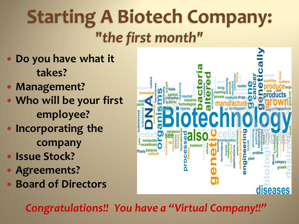 Starting A Biotech Company: the first month