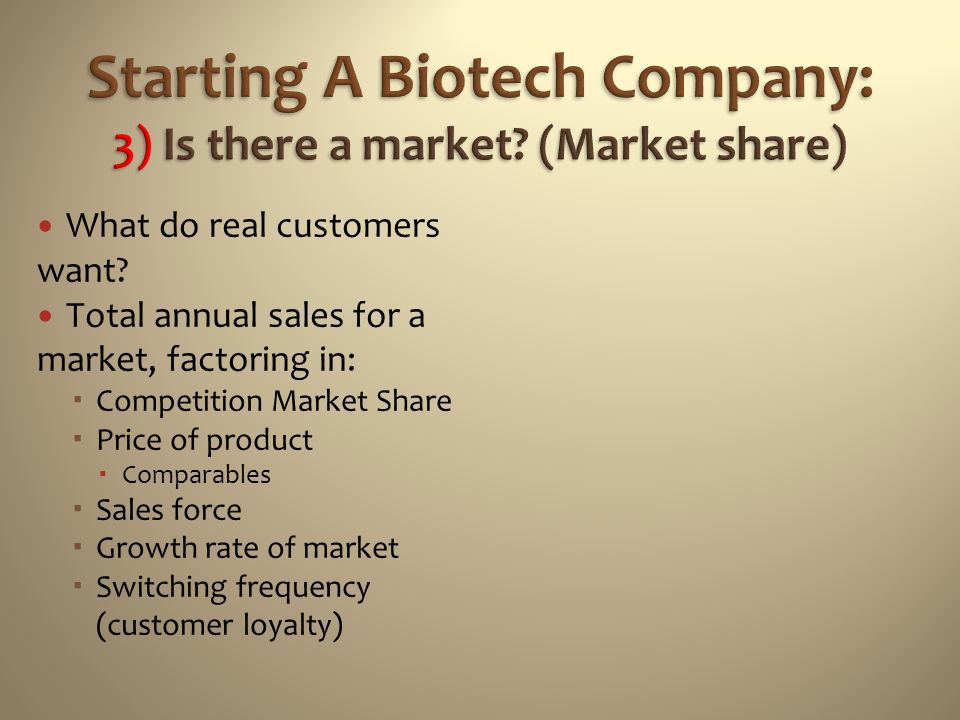 Starting A Biotech Company: 3) Is there a market (Market share)