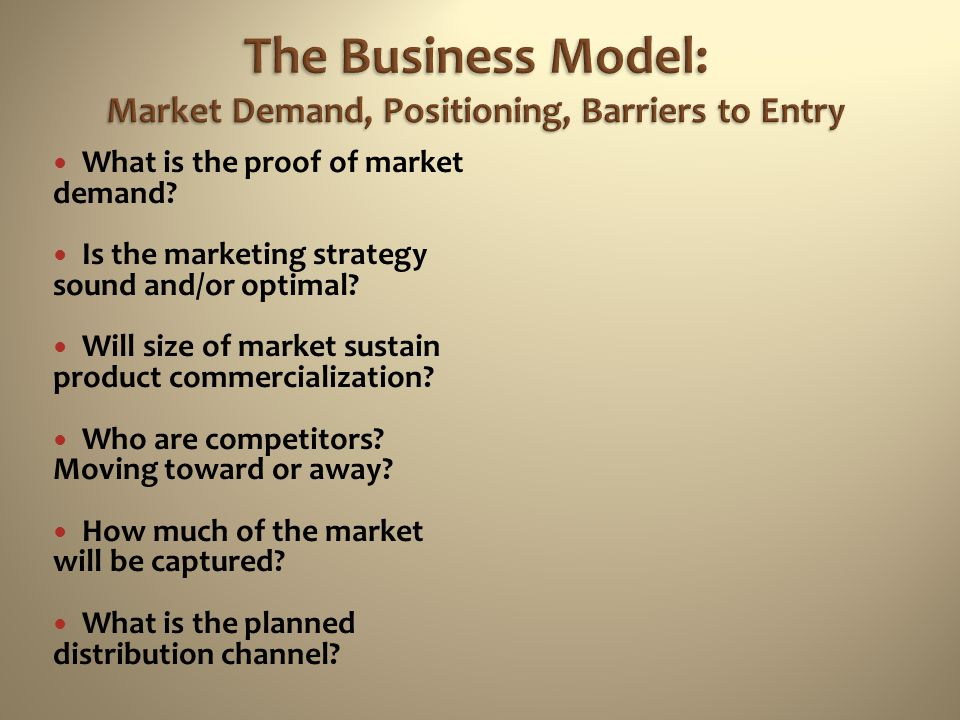 The Business Model: Market Demand, Positioning, Barriers to Entry