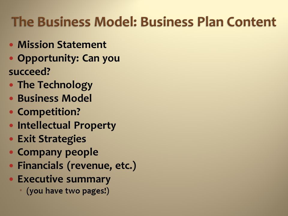 The Business Model: Business Plan Content