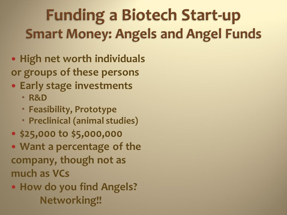 Funding a Biotech Start-up Smart Money: Angels and Angel Funds
