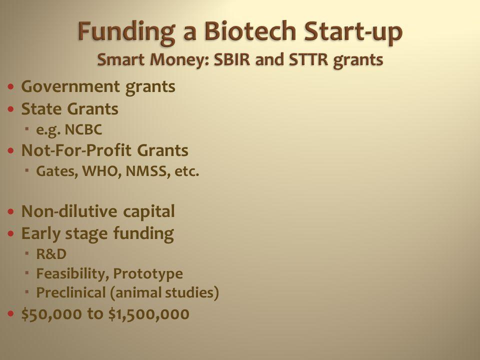 Funding a Biotech Start-up Smart Money: SBIR and STTR grants