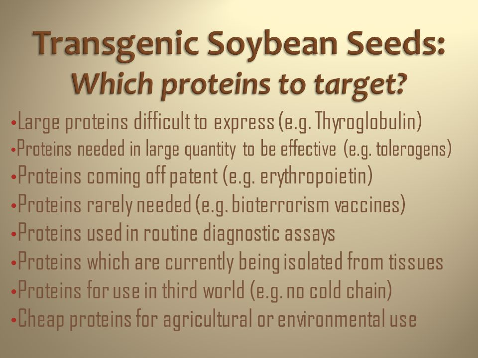 Transgenic Soybean Seeds: Which proteins to target