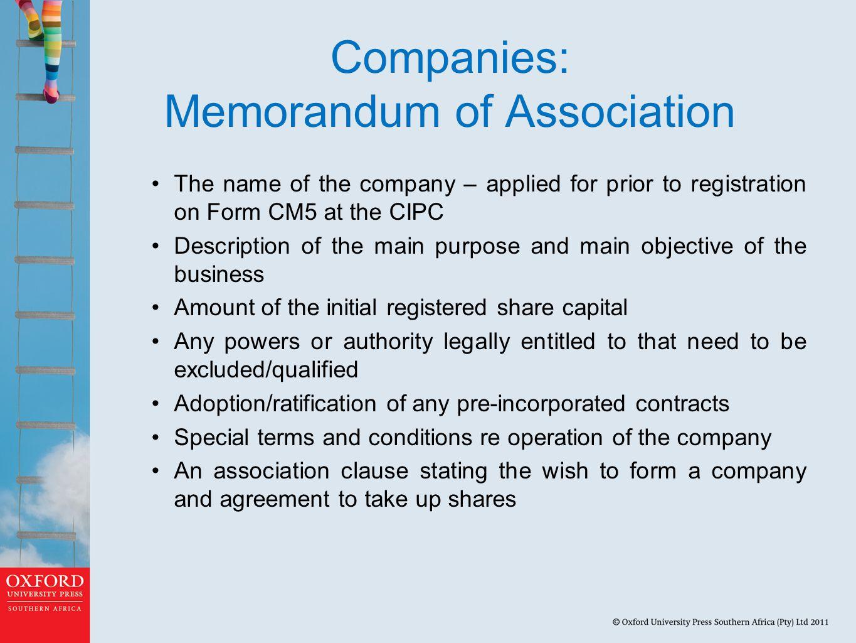Companies: Memorandum of Association