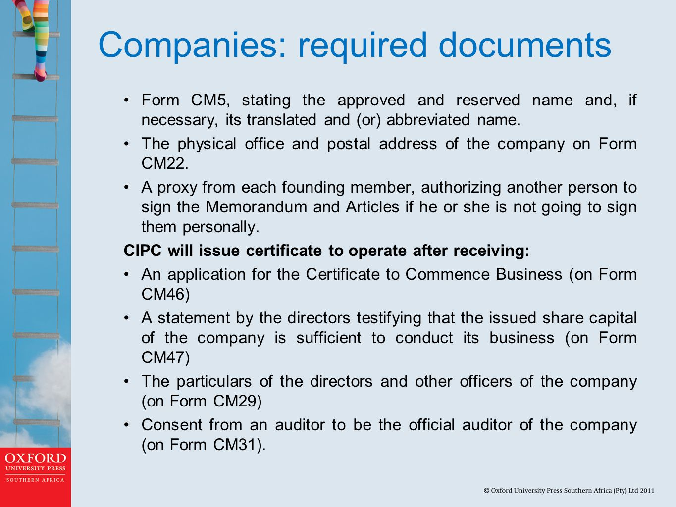 Companies: required documents