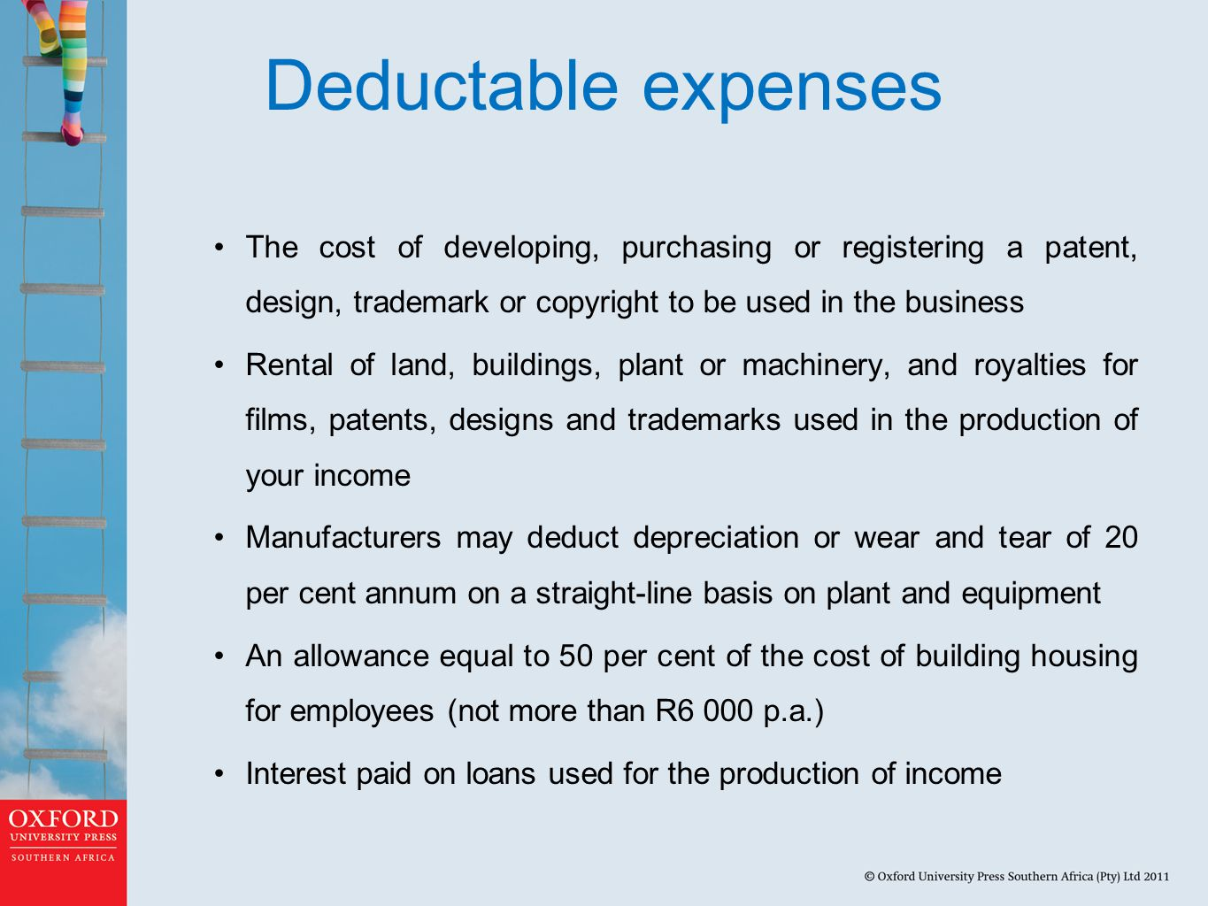 Deductable expenses The cost of developing, purchasing or registering a patent, design, trademark or copyright to be used in the business.