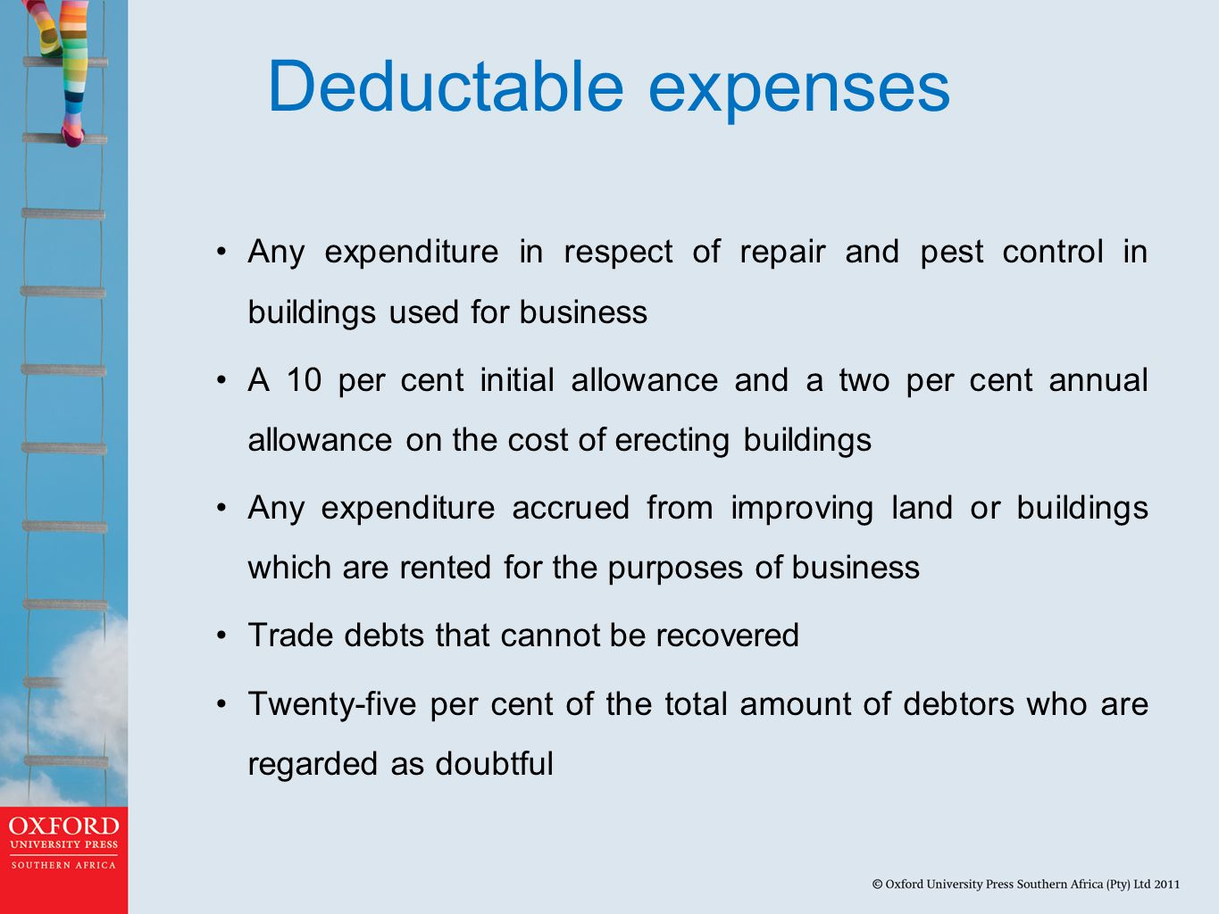 Deductable expenses Any expenditure in respect of repair and pest control in buildings used for business.