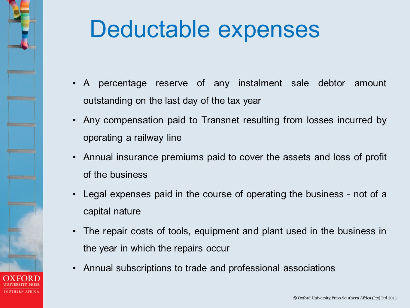 Deductable expenses A percentage reserve of any instalment sale debtor amount outstanding on the last day of the tax year.