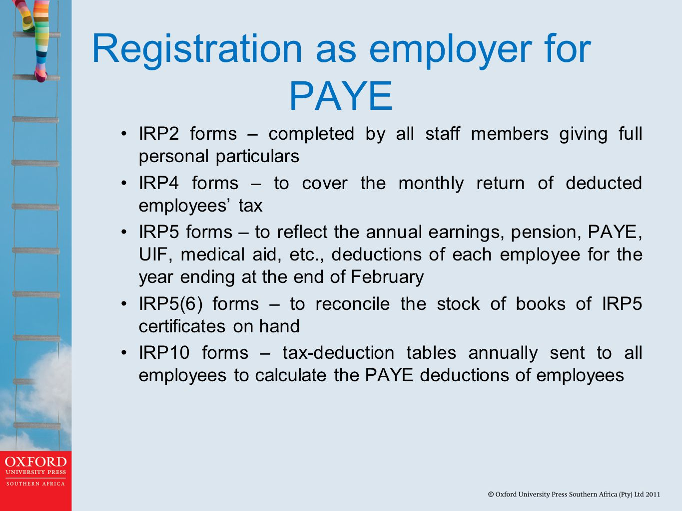 Registration as employer for PAYE