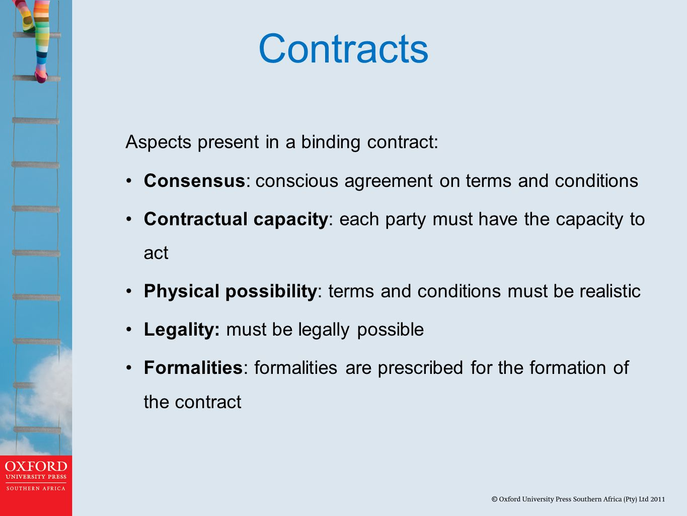 Contracts Aspects present in a binding contract: