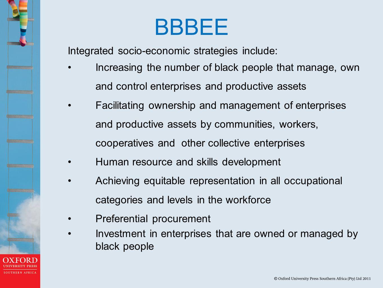 BBBEE Integrated socio-economic strategies include: