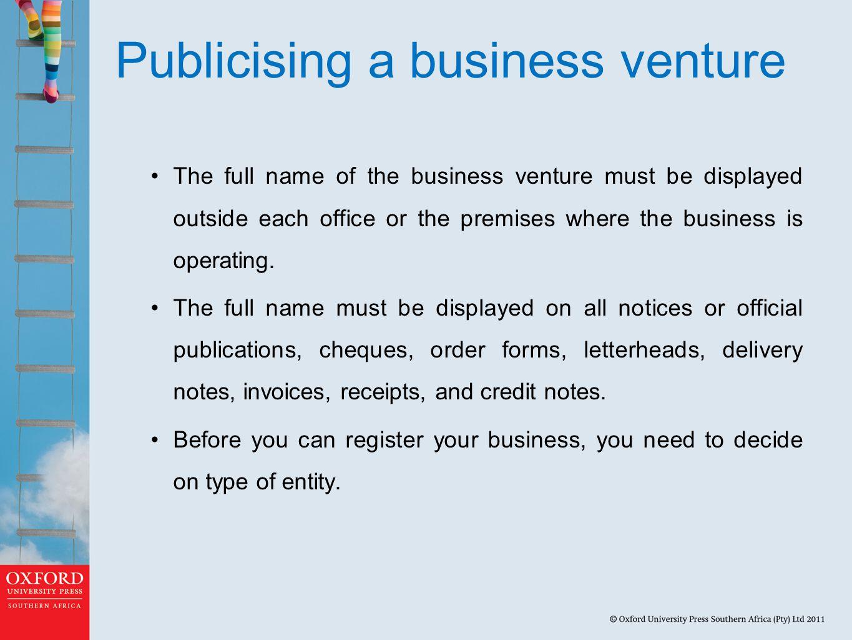 Publicising a business venture