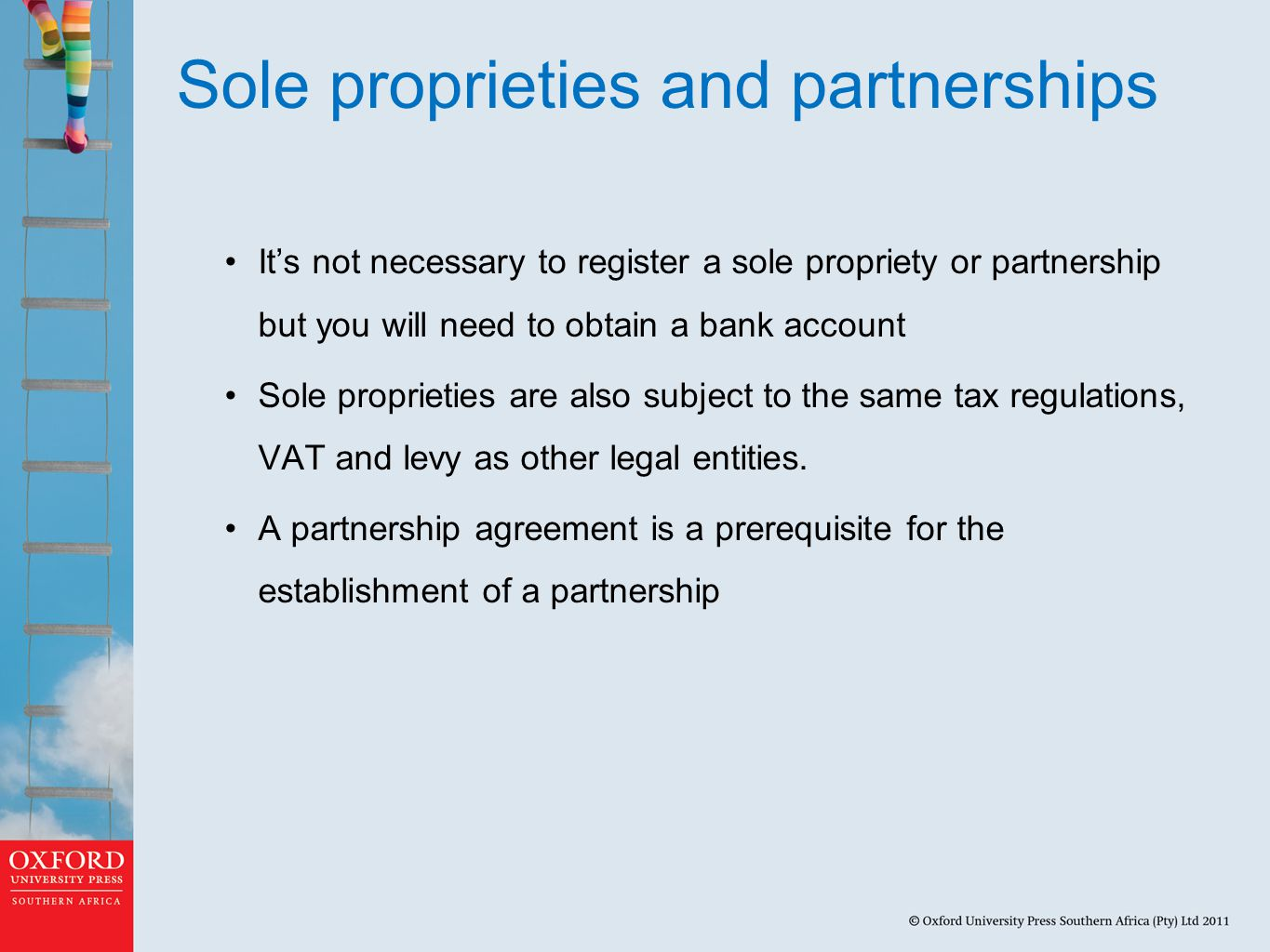 Sole proprieties and partnerships