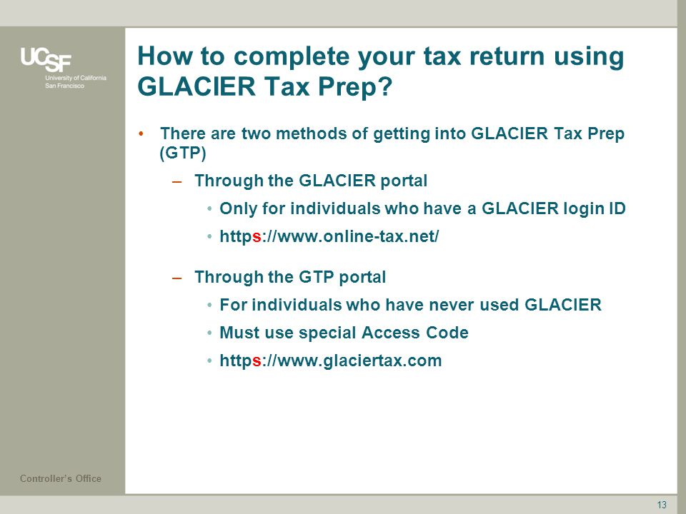 How to complete your tax return using GLACIER Tax Prep