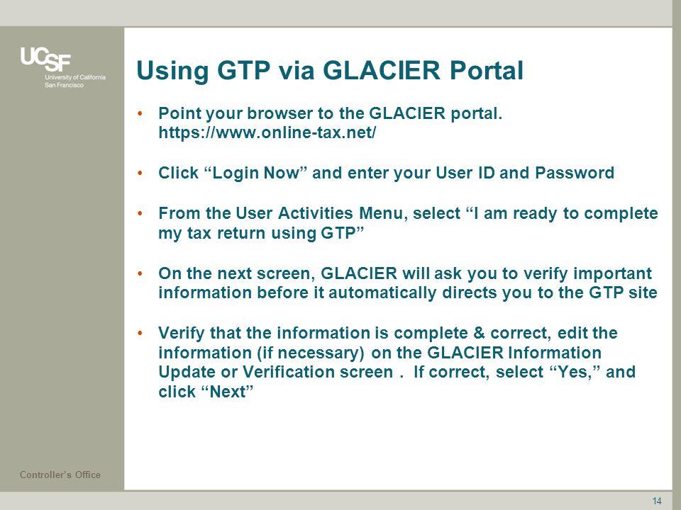Using GTP via GLACIER Portal
