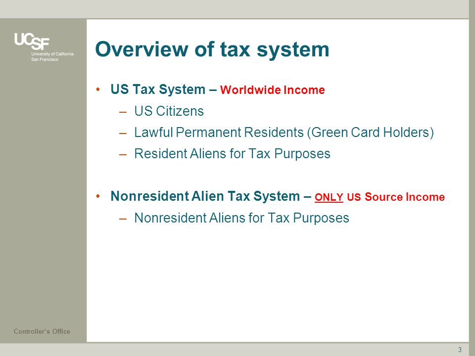 Overview of tax system US Tax System – Worldwide Income US Citizens