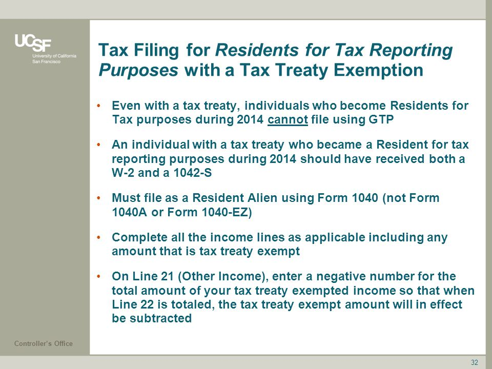 Tax Filing for Residents for Tax Reporting Purposes with a Tax Treaty Exemption